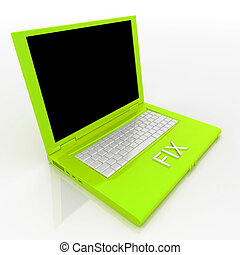 Laptop computer with word fix on it