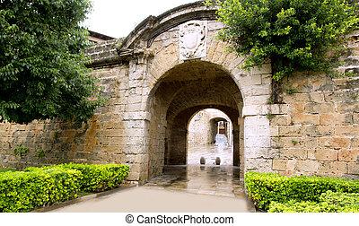 arches of Barrio Calatrava Los Patios in Majorca at Palma de...
