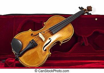 Italian wooden Violin in case box