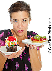 Woman with dessert - Attractive woman holding and offering...
