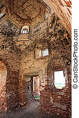 ruined ancient church - ruined ancient dilapidated brick...
