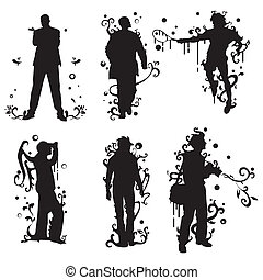 silhouettes with floral swirls