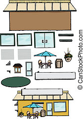 Build Your Own Store - Blank commercial building with parts...