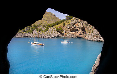 Escorca Sa Calobra view from a cave in Mallorca balearic...