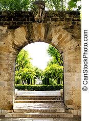 Arch entrance Hort del Rei gardens Palma de Mallorca - Arch...