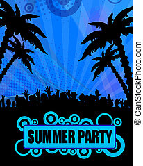 Summer party design - Summer party poster design on blue,...