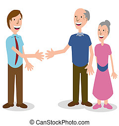 Businessman Greeting Senior Couple - An image of a...