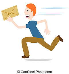 Urgent Mail - An image of a man delivering an urgent...