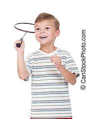 Boy with badminton racket_02(2).jpg - Little boy playing...
