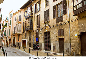 Palma de Mallorca old city Barrio Calatrava street in...