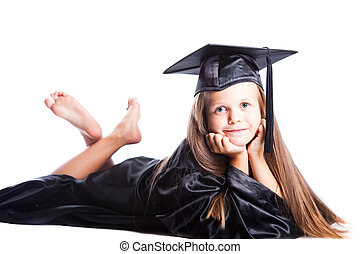 Portrait of smiling cute girl in black academic cap with liripipe and gown on isolated white