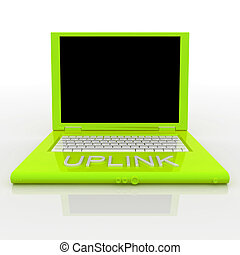 Laptop computer with word uplink on it - 3D blank laptop...