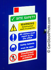 Site safety - Warning signs on a construction site for...
