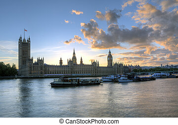 Thames River, London - Big Ben and the Thames river, London