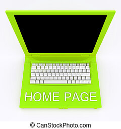 Laptop computer with word home page on it - 3D blank laptop...