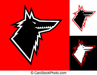 Lobo, cabeça, ícone