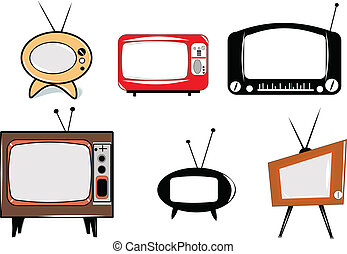 retro televisions - televisions from 50s era in retro style