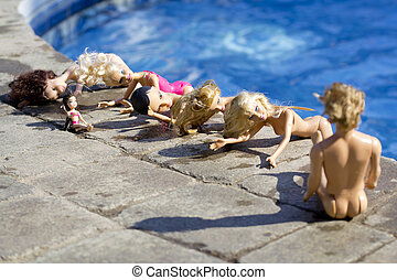 Dolls By The Pool 2 - A group of poolside naked female dolls...