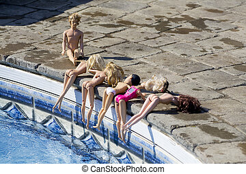 Dolls By The Pool 3 - A group of poolside naked female dolls...