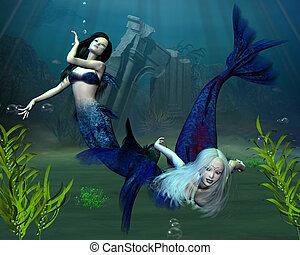 Mermaids - 2 - Two mermaids in an underwater scene, 3d...