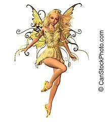 Summer Fairy - 1 - Pretty blonde fairy in summer sunshine,...