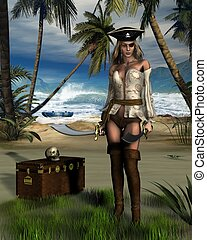 Pirate Island - Female pirate guarding a treasure chest on a...