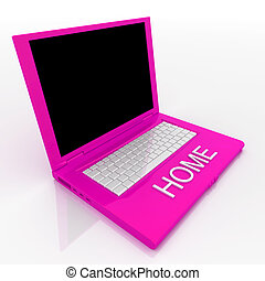 Laptop computer with word home on it - 3D blank laptop...