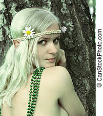Elf-girl fairytale heroine - portrait of beautiful young...