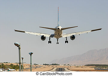 Passenger airplane before landing - Passenger airplane few...
