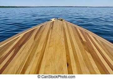 madera, tira, arco, cubierta, de madera, barco
