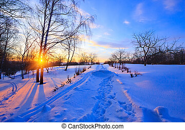 Countryside at winter, Russia - Sunset in countryside at...