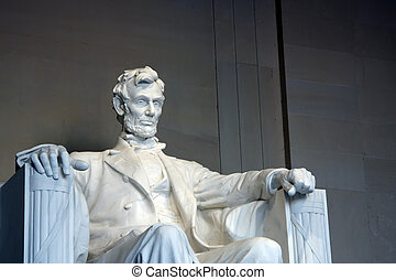 Statue of Abraham Lincoln in the Lincoln Memorial,...