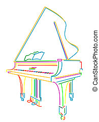 Grand piano over white - Classical grand piano sketch over...