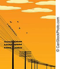 Birds on wire - Background illustration wirth birds and...