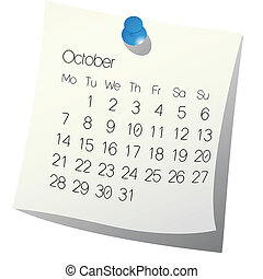 2013 October calendar on white paper