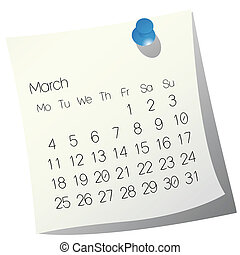 2013 March calendar on white paper