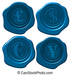 Money wax seal - Major currency symbols on blue wax seal.