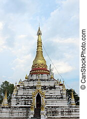 Burmese style pagoda at Mon Sung-khan temple,Lam...