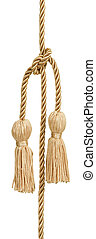 Gold rope with tassel isolated on white with clipping patch...