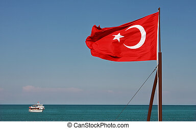 National flag of Turkey. - Turkish National Flag waiving on...