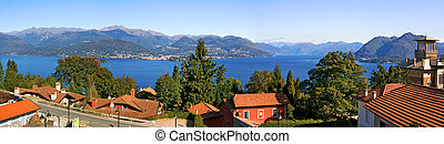 Panoramic view on Lake Maggiore. - Aerial panoramic view on...