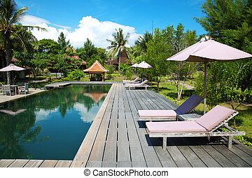 Swimming pool at an eco resort - Swimming pool with at an...