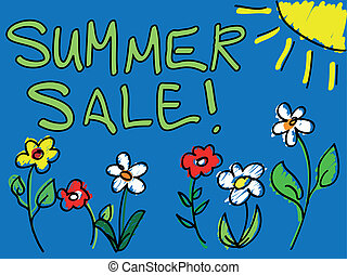 Summer sale with sun and flowers do
