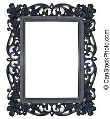 Black Floral Ornate Frame Isolated on White with a Clipping...