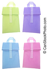 Set of 4 Reusable Lunch Bag Sacks Isolated on White with a...