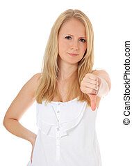 Negative gesture - Attractive blonde girl showing thumbs...