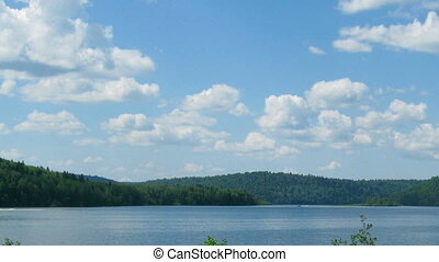 summer landscape with mounatin lake - timelapse