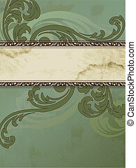 Grungy Victorian vintage banner - Elegant green and brown...
