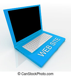 Laptop computer with word web site on it - 3D blank laptop...