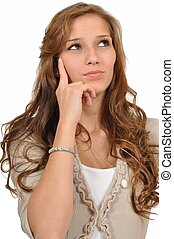 Junge Frau als Denker